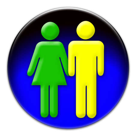 allowed to pass: A yellow man and a green woman icon on a blue glassy button isolated over white background.