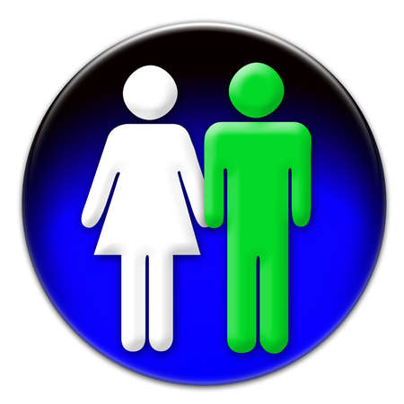 allowed to pass: A white woman and a green man icon on a blue glassy button isolated over white background