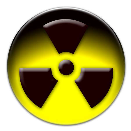 Brown radiation icon on a yellow glassy button isolated over white background Stock Photo - 19654042