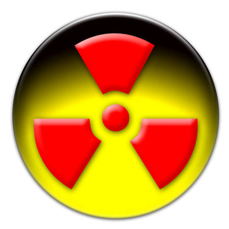 radium: Red radiation icon on a yellow glassy button isolated over white background