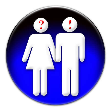 sure: Man and woman icon on a blue glassy button isolated over white background meaning that  man is sure and a woman is unsure about the way to go or to do anything
