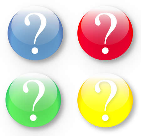 The glassy isolated vector illustration of a coloured question mark buttons set. Image may be resized to any scale without data losses Illustration