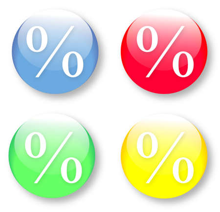 The glassy isolated vector illustration of a coloured per cent buttons set. Image may be resized to any scale without data losses