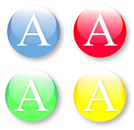 Letter A Times New Roman font type icons set on glassy buttons isolated on white background. Vector illustration may be resized to any scale without data losses
