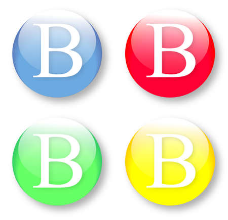 Letter B Times New Roman font type icons set on glassy buttons isolated on white background. Vector illustration may be resized to any scale without data losses Illustration