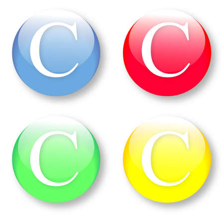 times new roman: Letter C Times New Roman font type icons set on blue, red, green and yellow glassy buttons isolated on white background  Vector illustration may be resized to any scale without data losses Illustration