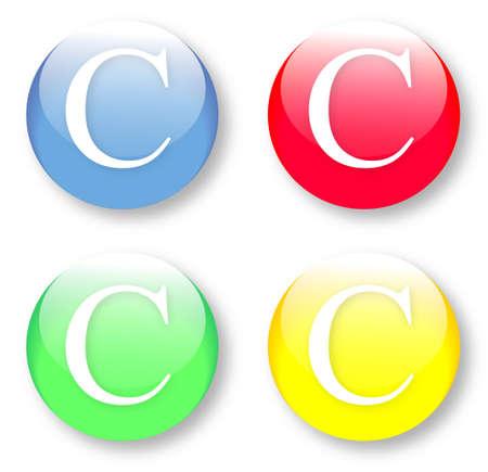 times new roman: Times New Roman iconos de tipo de fuente de la letra C establecidas en azul, botones vidriosos rojos, verdes y amarillos aislados sobre fondo blanco Ilustraci�n vectorial pueden ser redimensionado a cualquier escala, sin p�rdida de datos Vectores