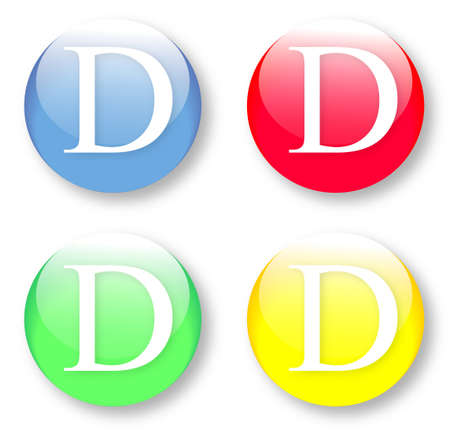 Letter D Times New Roman font type icons set on blue, red, green and yellow glassy buttons isolated on white background  Vector illustration may be resized to any scale without data losses Illustration