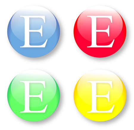 times new roman: Letter E Times New Roman font type icons set on blue, red, green and yellow glassy buttons isolated on white background  Vector illustration may be resized to any scale without data losses