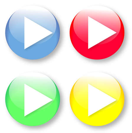 White play-like arrow icon looking right on a green, yellow, blue and red glassy button isolated on white background  Vector arrow image may be resized to any scale without data losses Vector