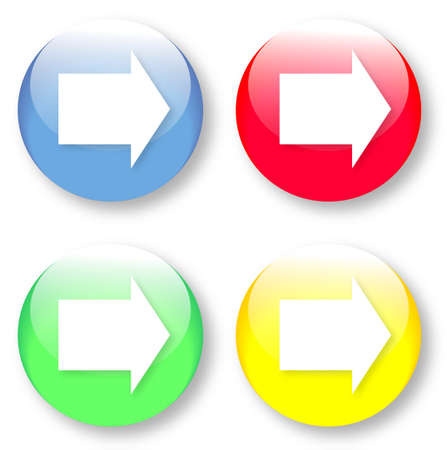 Simple white arrow icon looking right on a green, yellow, blue and red glassy button isolated on white background  Vector arrow image may be resized to any scale without data losses Vector