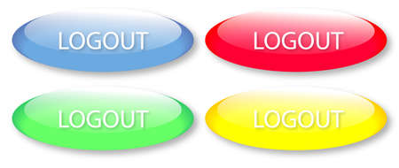 Glassy logout buttons isolated on white background. Vector button  image may be resized to any scale without data losses