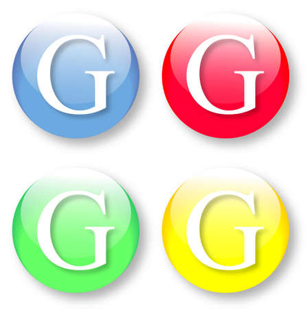 times new roman: Letter G Times New Roman font type icons set on blue, red, green and yellow glassy buttons isolated on white background  Vector illustration may be resized to any scale without data losses
