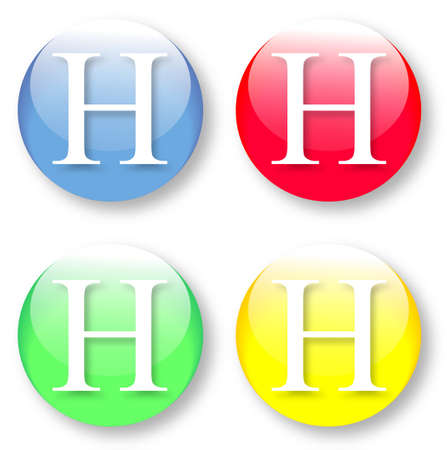 times new roman: Letter H Times New Roman font type icons set on blue, red, green and yellow glassy buttons isolated on white background  Vector illustration may be resized to any scale without data losses