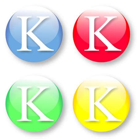 times new roman: Letra K Times New Roman iconos de tipo de fuente establecido en azul, botones vidriosos rojos, verdes y amarillos aislados sobre fondo blanco Ilustraci�n vectorial pueden ser redimensionado a cualquier escala, sin p�rdida de datos