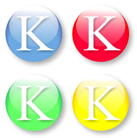 Letter K Times New Roman font type icons set on blue, red, green and yellow glassy buttons isolated on white background  Vector illustration may be resized to any scale without data losses