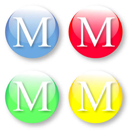 Letter M Times New Roman font type icons set on blue, red, green and yellow glassy buttons isolated on white background  Vector illustration may be resized to any scale without data losses Illustration