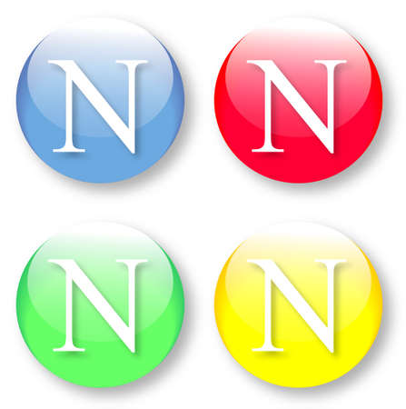 Letter N Times New Roman font type icons set on blue, red, green and yellow glassy buttons isolated on white background  Vector illustration may be resized to any scale without data losses