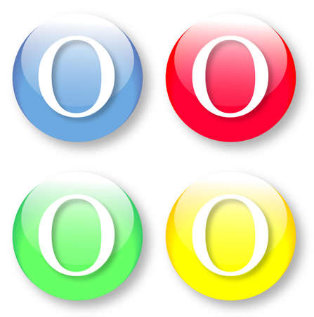 typesetter: Letter O Times New Roman font type icons set on blue, red, green and yellow glassy buttons isolated on white background  Vector illustration may be resized to any scale without data losses