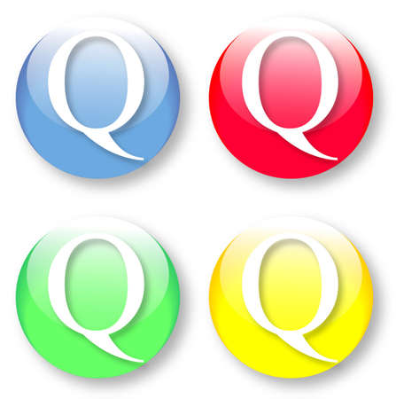 times new roman: Letter Q Times New Roman font type icons set on blue, red, green and yellow glassy buttons isolated on white background  Vector illustration may be resized to any scale without data losses