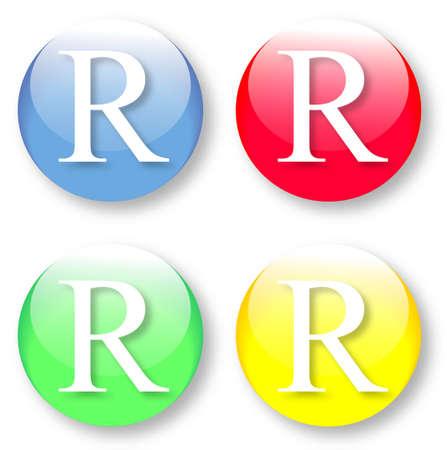 times new roman: Letra R Times New Roman iconos de tipo de fuente establecido en azul, botones vidriosos rojos, verdes y amarillos aislados sobre fondo blanco Ilustraci�n vectorial pueden ser redimensionado a cualquier escala, sin p�rdida de datos
