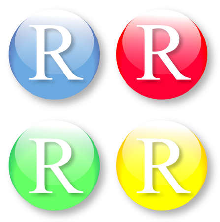 Letter R Times New Roman font type icons set on blue, red, green and yellow glassy buttons isolated on white background  Vector illustration may be resized to any scale without data losses
