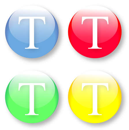 typesetter: Letter T Times New Roman font type icons set on blue, red, green and yellow glassy buttons isolated on white background  Vector illustration may be resized to any scale without data losses