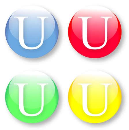 times new roman: Letra U Times New Roman iconos de tipo de fuente establecido en azul, botones vidriosos rojos, verdes y amarillos aislados sobre fondo blanco Ilustraci�n vectorial pueden ser redimensionado a cualquier escala, sin p�rdida de datos