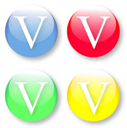 times new roman: Letter V Times New Roman font type icons set on blue, red, green and yellow glassy buttons isolated on white background  Vector illustration may be resized to any scale without data losses