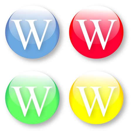 times new roman: Letra W Times New Roman iconos de tipo de fuente establecido en azul, botones vidriosos rojos, verdes y amarillos aislados sobre fondo blanco Ilustraci�n vectorial pueden ser redimensionado a cualquier escala, sin p�rdida de datos