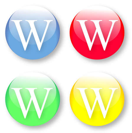 times new roman: Letter W Times New Roman font type icons set on blue, red, green and yellow glassy buttons isolated on white background  Vector illustration may be resized to any scale without data losses Illustration