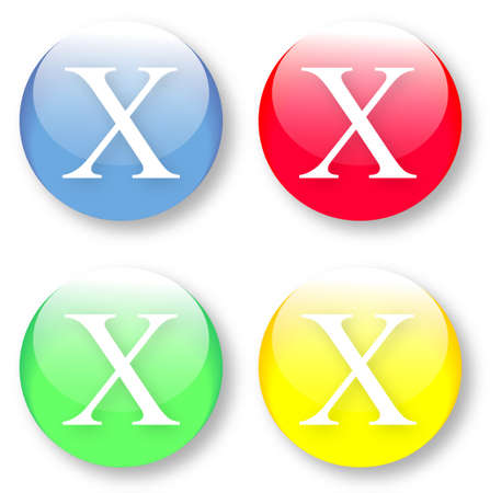 times new roman: Letter X Times New Roman font type icons set on blue, red, green and yellow glassy buttons isolated on white background  Vector illustration may be resized to any scale without data losses