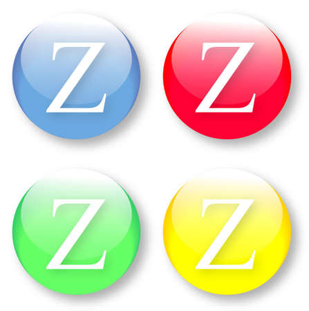 times new roman: Letter Z Times New Roman font type icons set on blue, red, green and yellow glassy buttons isolated on white background  Vector illustration may be resized to any scale without data losses