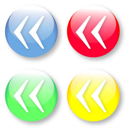 times new roman: Left French quote mark symbol Times New Roman glassy blue, red, yellow and green buttons isolated over white background Illustration
