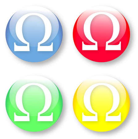 masses: Ohm omega vector glassy blue, red, yellow and green buttons isolated over white background