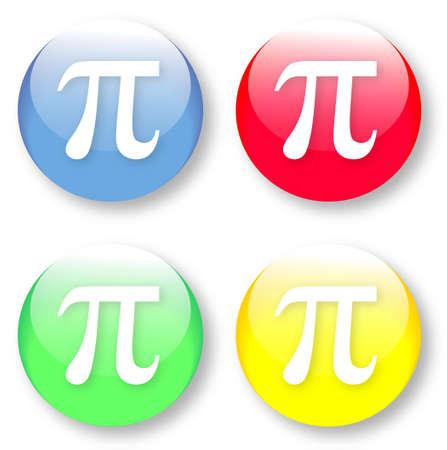 diameter: Matematica PI vettore vetrosi pulsanti blu, rosso, giallo e verde isolato su sfondo bianco Vettoriali