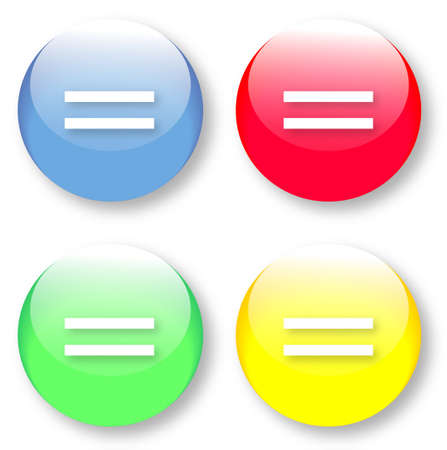 impartiality: Vector set of equal icons on glassy buttons isolated over white background