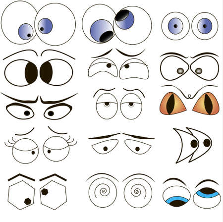 Cartoon eyes illustration set Vector