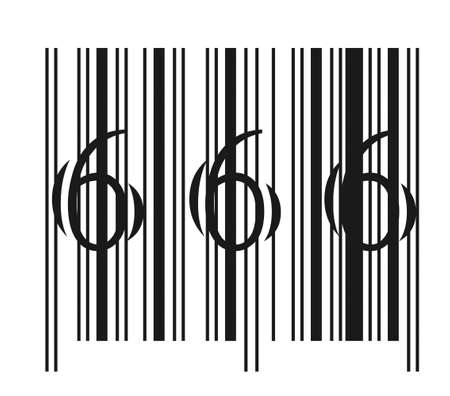 Evil bar code illustration isolated on a white background Иллюстрация