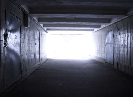 Light at the end of the mysterious subway tunnel photo