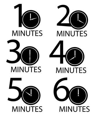 Clocks counting minutes vector illustration set, isolated over white background  Illustration