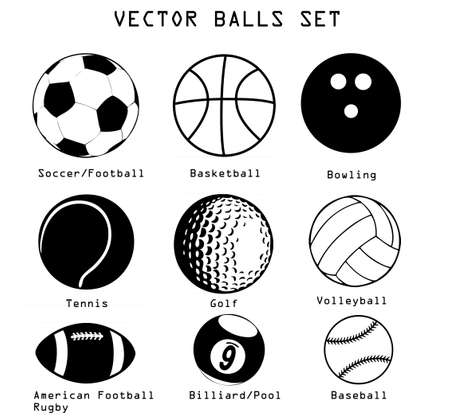 pool balls: A vector set of different sport balls isolated over white background Illustration