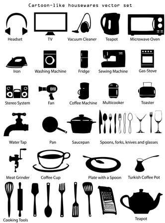 House utensils and gadgets vector illustration set isolated over white background Иллюстрация