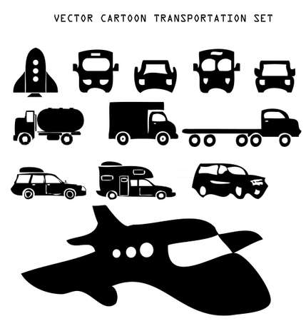 Cartoon transportation illustration set in a vector resizable format, isolated over white background Vector