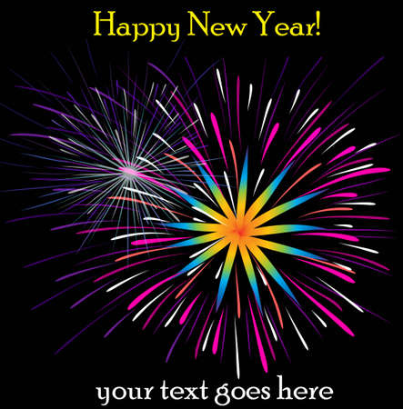 resizable: New Year fireworks vector illustration isolated on a black background Illustration
