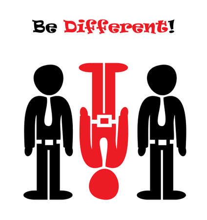 A vector illustration pointing out the necessity of being different Çizim