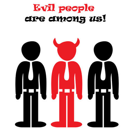 horny: Evil People Are Among Us conceptual vector illustration isolated over white background Illustration
