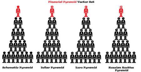instability: Financial pyramid illustration set