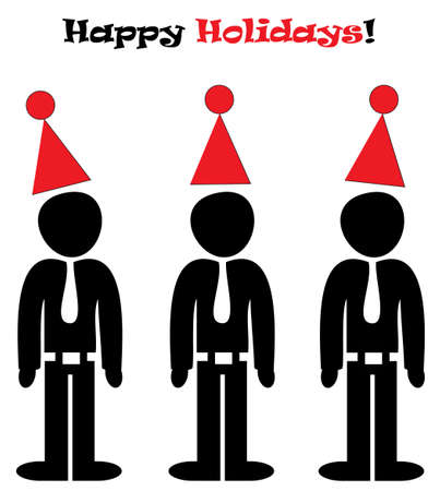A Happy Office Holidays illustration with three man in holiday hats