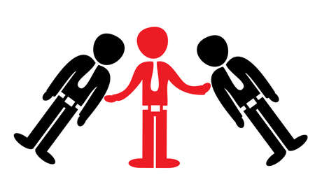 A concept vector illustration showing the necessity of a teamwork, of helping the other people not to fall, but to stand and grow
